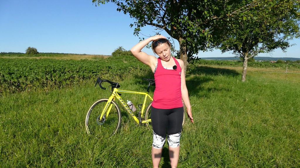 Yoga Radfahrer Dehnen Nackendehnung